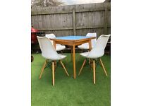 Original retro blue Formica extendable table and 4 x Eiffel style reproduction chairs