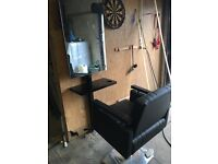 2 barbers chairs with mirror stands
