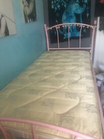 Pink single bed, 3ft, metal frame, with mattress - excellent condition