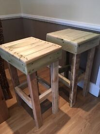 Handcrafted artisan wooden stool/s very solid / can be painted varnished on request .. unique