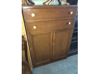 Fine Vintage Utility Tallboy Cabinet / Large Cupboard & Chest of Drawers