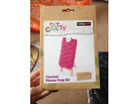 Hobby Craft Crochet knit pink mobile phone cover NEW SEALED. Ideal gift for lady/girl into craft