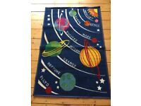 Rug blue kids space planets