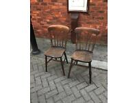 Pair of 19th century Victorian kitchen chairs