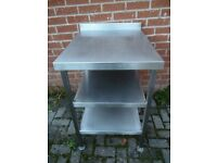 Stainless Steel Table 2 shelves Underneath,60cm Wide x 76 cm Deep x 87cm High Excellent Condition