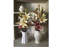 Shabby chic vase and faux flowers x3