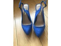 Electric blue wedged heels. Size 3. Never worn. £15 o.n.o.