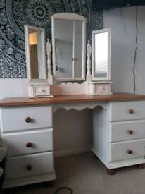 Antique solid pine dressing table in cream and natural.