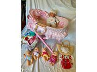 Baby dolls bundle with Moses Basket
