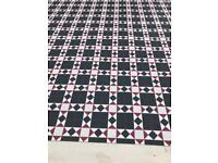 "Quality vinyl flooring 11ft 3"" x 13ft red , black and white tile mosaic"
