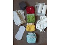 g nappy washable nappy bundle, vg condition nappies, inserts and liners