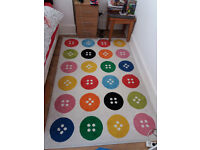 Ikea rug with button pattern