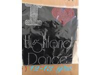 Girls diamanté highland dance t-shirt 12-13 yrs