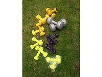 Dumbells, 4 sets of 2kg and 5 sets of 1kg