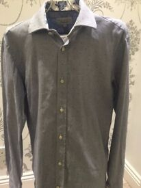 """Mens Ted Baker Shirt (Blue with pattern) size 34/35"""" (Small) 15.5 collar"""