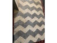 Huge grey and cream chevron rug