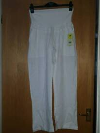 Jo jo Be Be manma white maternity over the bump linen trousers size 12
