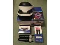 Playstation VR Head Set, Camera, controllers and games.