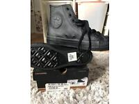 CONVERSE all black leather high tops size 5