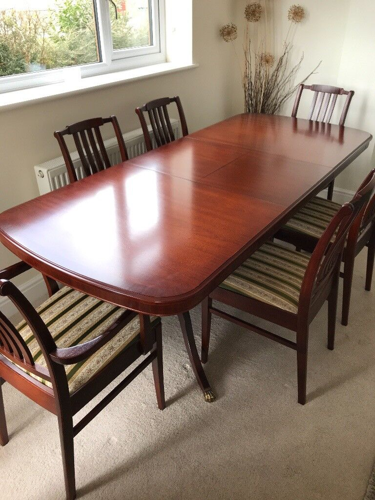 Stag Mahogany Dining Room Suite Extending Table Four Chairs Two - Dining room table for four