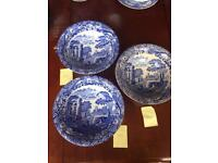 3 Large Vintage Copeland Spode Blue Italian Porcelain Vegetable Dish Bowl.