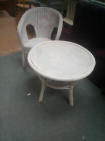 white braided chair and table