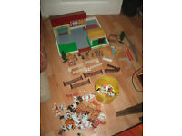 wooden farmyard,vintage with buildings, animals, people and more, some Britains