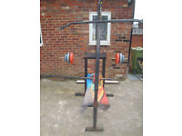 FITNESS PACK WEILDER BENCH WITH WEIGHTS BAR+DUMB BELLS, PUNCHBAG WITH GLOVES.
