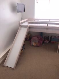 White slide bed comes with curtains for underneath £50 Ono needs gone ASAP already dismantled