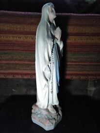 Large vintage figure of our lady virgin Mary. made from plaster with lovely wear and patina