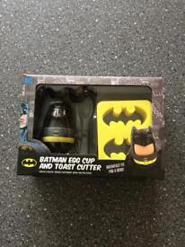 Brand new in box Batman eggcup holder and toast cutter