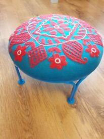 Quirky blue and red hand finished foot stool