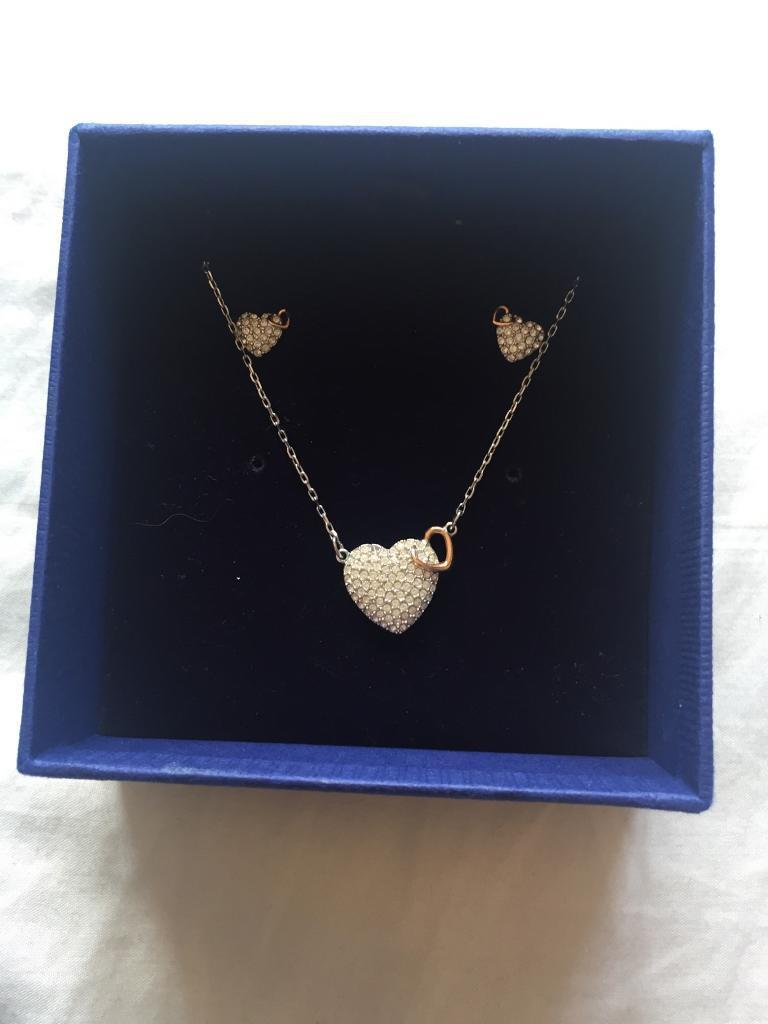 Swarovski Heart Necklace And Earring Set