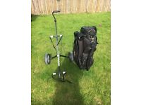 Golf bag and trolley for sale. Big big , good space , scuffed a little.