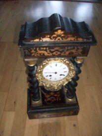 French portico marquetry clock Napoleon III 19th century.