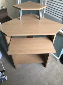 Corner Wooden effect computer desk