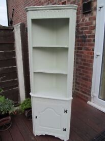 "SHABBY CHIC FARROW & BALL ""MIZZLE"" GREY CORNER DISPLAY CABINET"