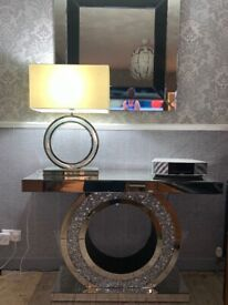 Mirror Lamp with White/Cream Shade
