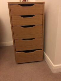 Oak finish storage draws