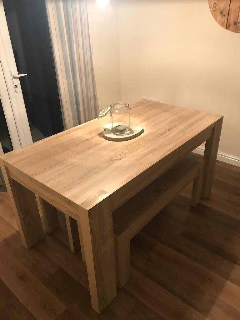 Next Corsica Dining Table Bench Set In Ammanford