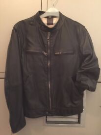 Mens burberry leather jacket - 100% lambskin - Size S