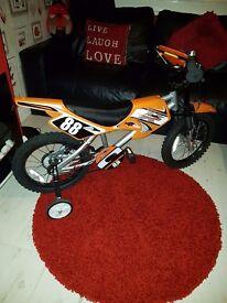 Kids black & orange Bike + Helmet