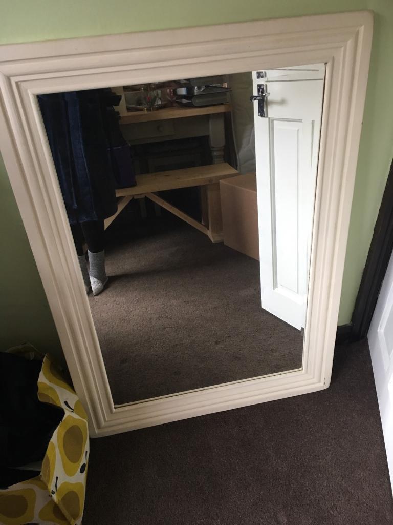 Large chalk painted cream mirror