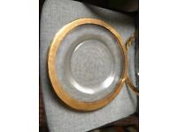 Glass charger plates, gold rimmed
