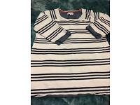 Next Navy and white striped maternity top. Size 10.
