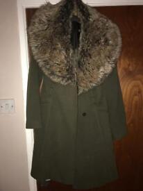 Miss selfridge winter faux fur trim coats green brown