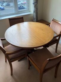 Quality Extendable Dining Table and Four Upholstered Chairs - Seats 4-6 People