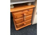 PINE THREE DRAWER BEDSIDE CABINET