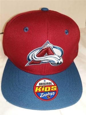 New Colorado Avalanche Youth OSFA Zephyr Snapback Flatbrim Blue Red Cap (Youth Avalanche Cap)