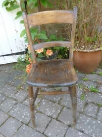 Ladder back chair, light woodworm, treated